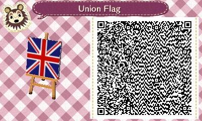 Animal Crossing New Horizons Drapeaux de la ville Union Jack England Flag Code