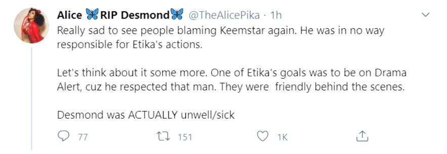 Alice etika tweet