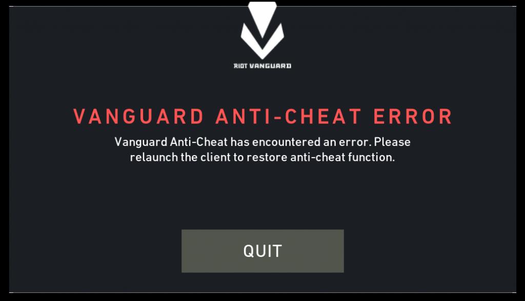 Vanguard anti-cheat donnant un coup de pied aux gens du jeu Vanguard anti-cheat a rencontré une erreur. Veuillez relancer le client pour restaurer la fonction anti-triche.