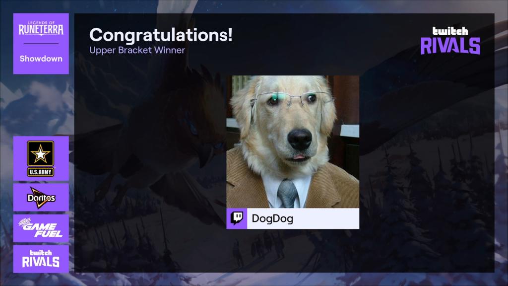 Swimstrim lançant Twitch Rivals Legends of Runeterra Dogdog