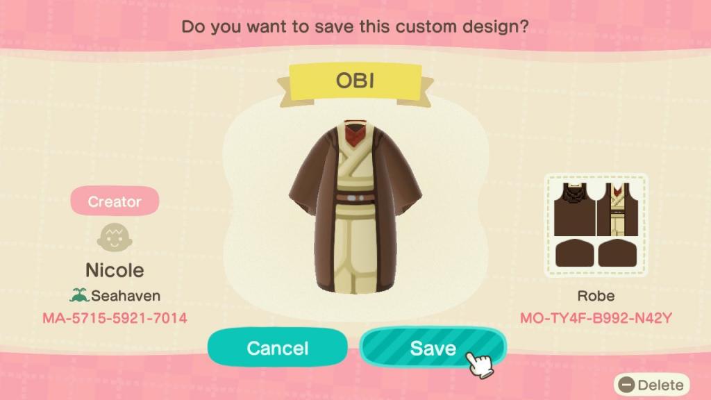 Obi Animal Crossing nouveaux horizons star wars