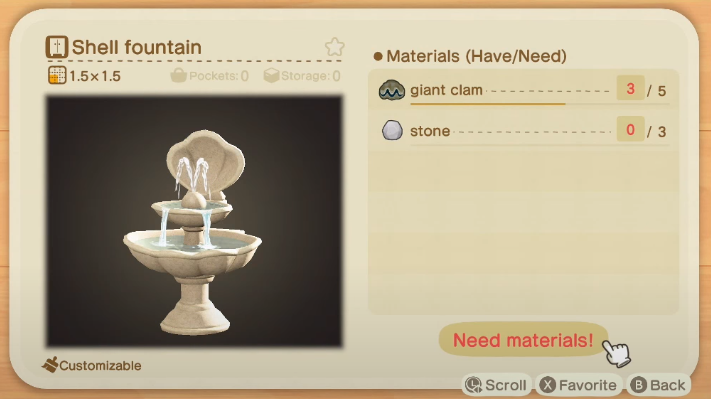 Fontaine de coquille - Objets de coquille dans Animal Crossing New Horizons
