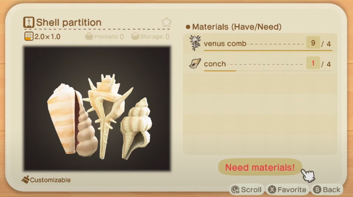 Partition Shell - Objets Shell dans Animal Crossing New Horizons