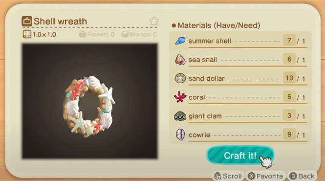 Shell Wreath - Animal Crossing New Horizons Summer Shell Recipes