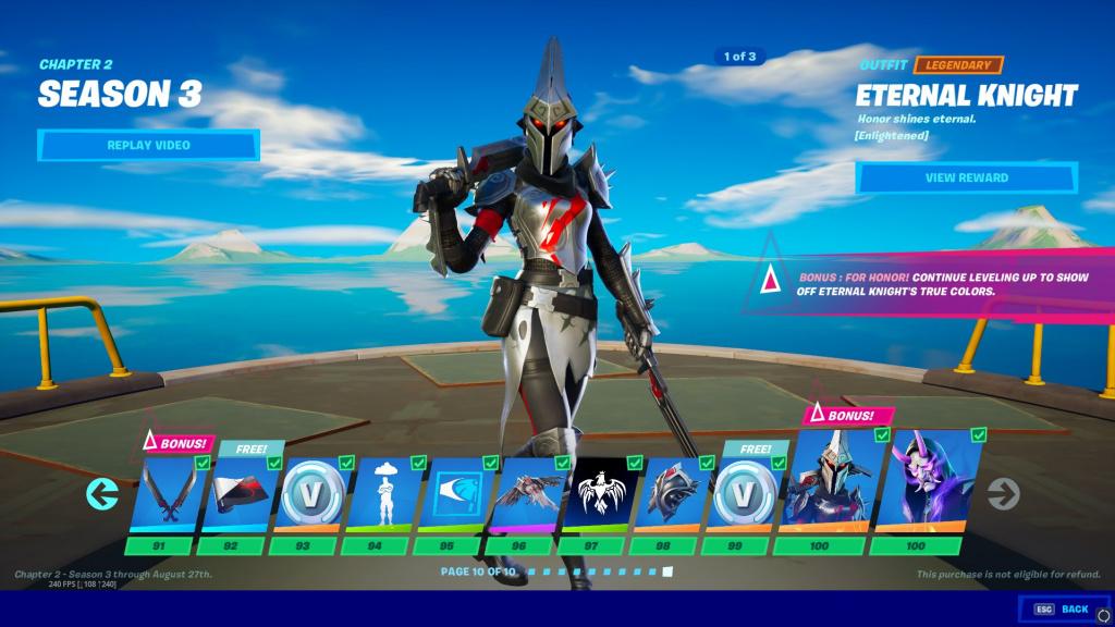Skins Fortnite Season 3 Battle Pass niveau 100