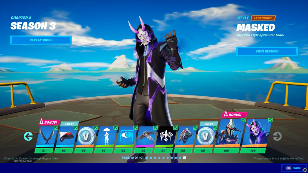 Skins Fortnite Battle Pass niveau 100