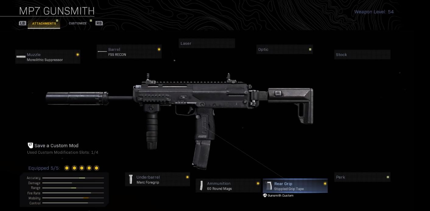 Meilleures armes Warzone - MP7 Loadout