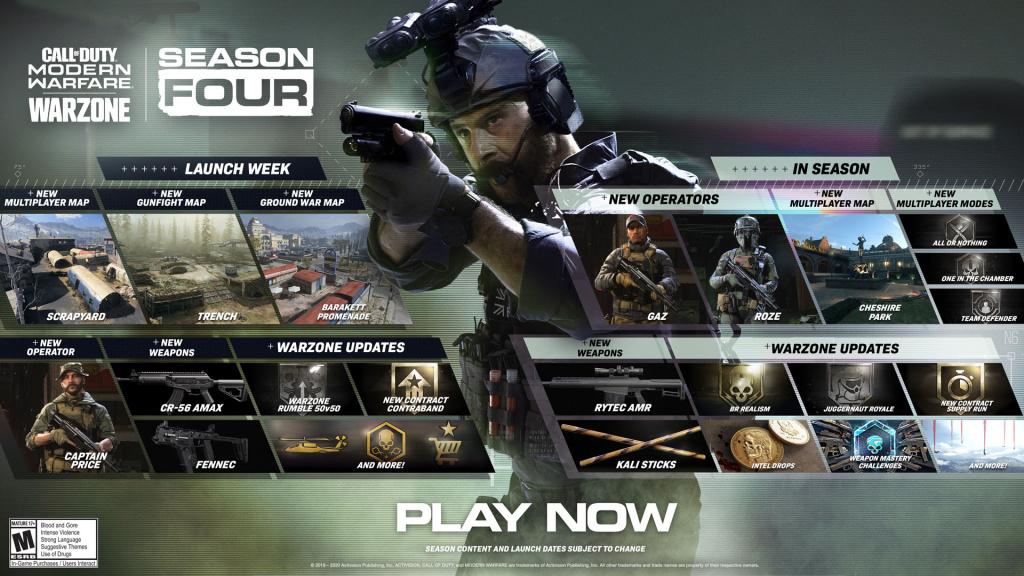 Call of Duty Modern Warfare Seaon 4 roadmap, Rytec AMR, Kali Sticks chesire park br realism intel drops juggernaut royale