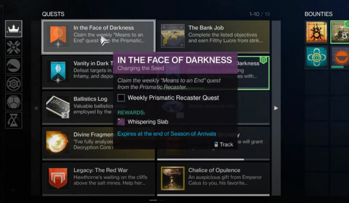 In the Face of Darkness Quest Bug in Destiny 2