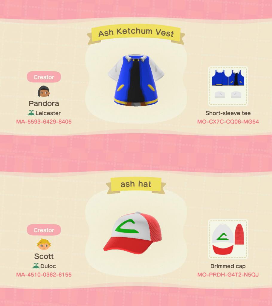 Animal Crossing Pokemon conçoit le code de téléchargement du gilet en ketchum de cendre