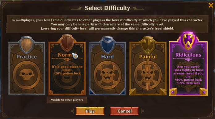 Torchlight 3 Difficulty Settings
