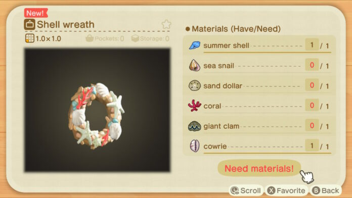 Shell Recipes in Animal Crossing New Horizons