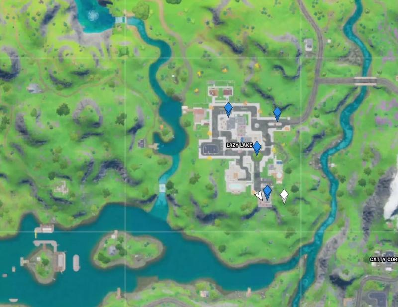 Carte de localisation des anneaux flottants au lac Lazy