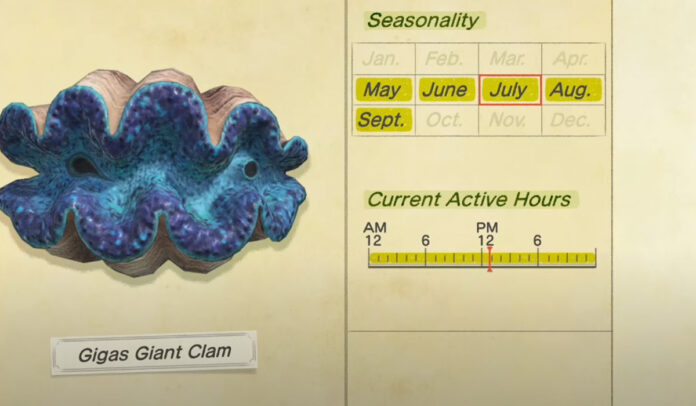 How to catch a Gigas Giant Clam in Animal Crossing New Horizons