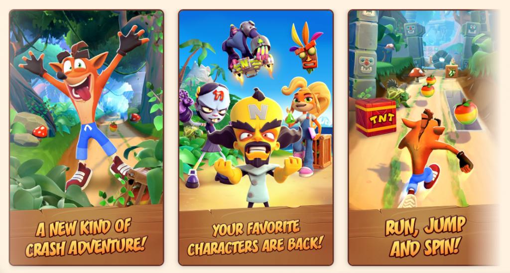 Crash Bandicoot sur la course mobile