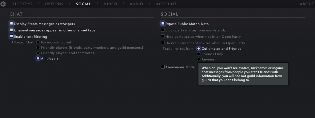 comment activer le mode anonyme Dota 2