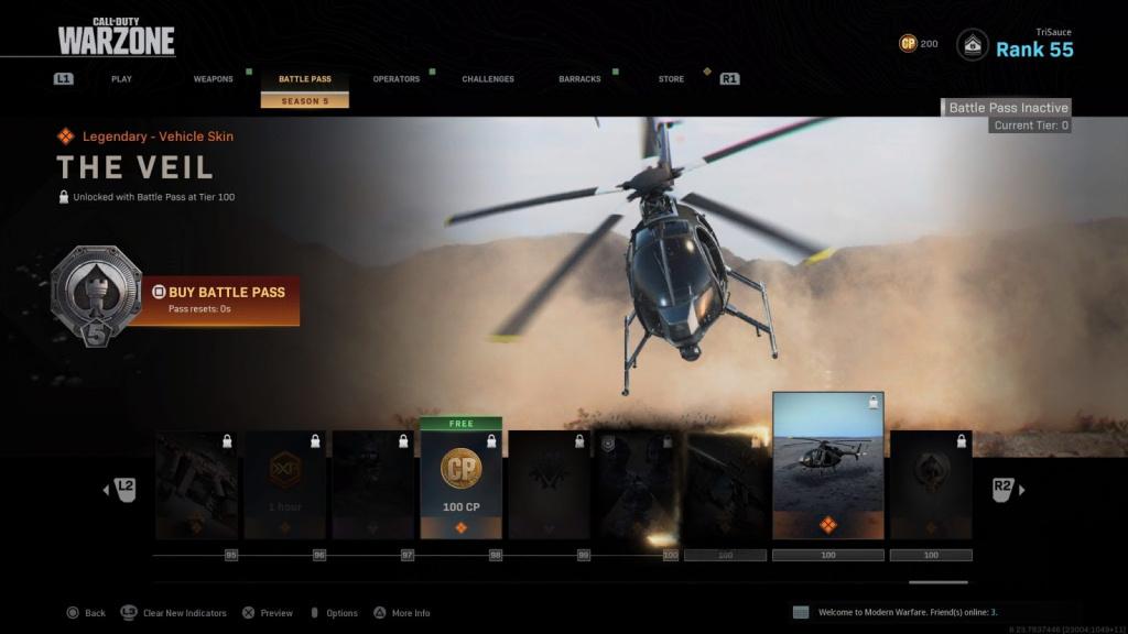 Warzone Battle Pass niveau 100