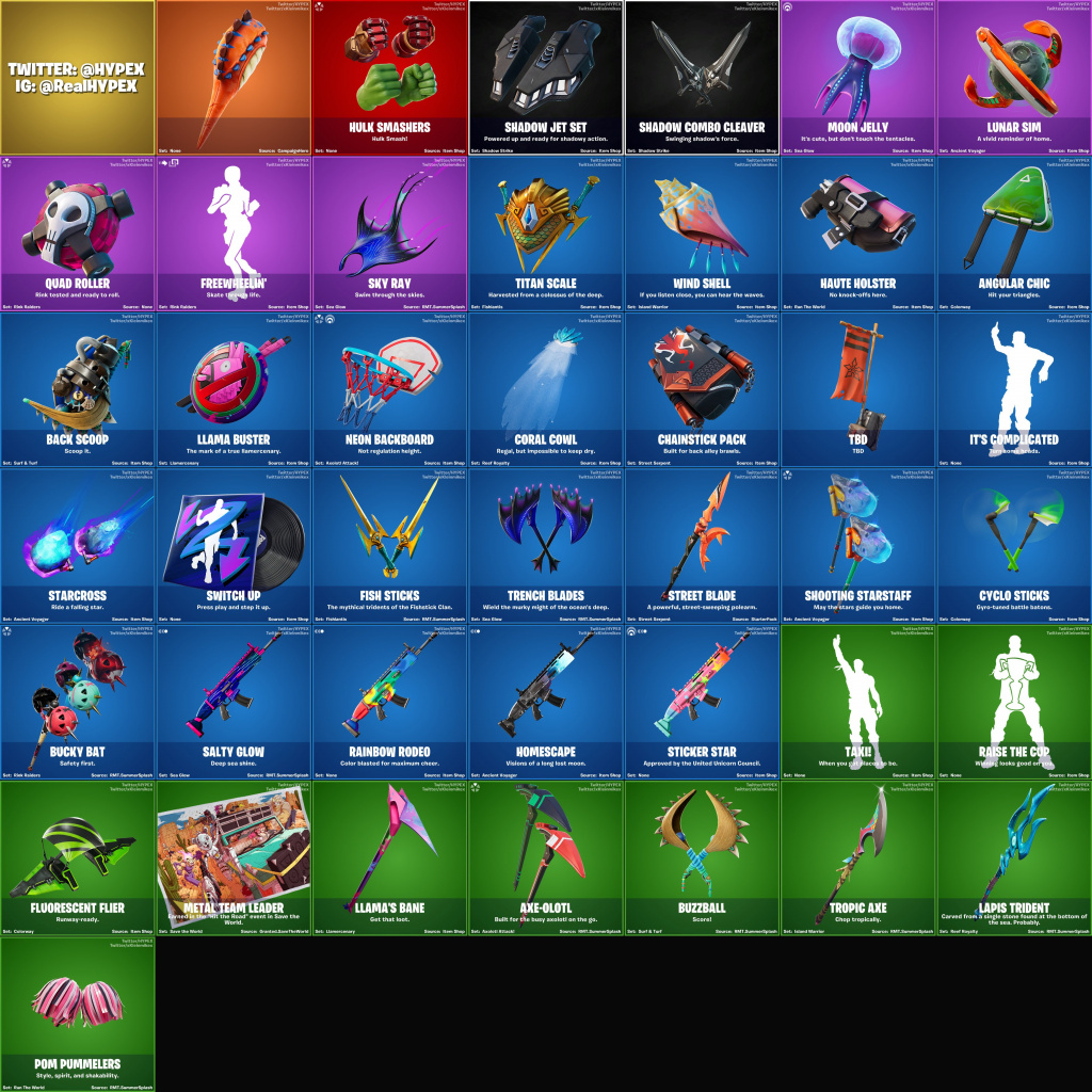 Fortinte Fuite Skins Emotes Packs de planeurs