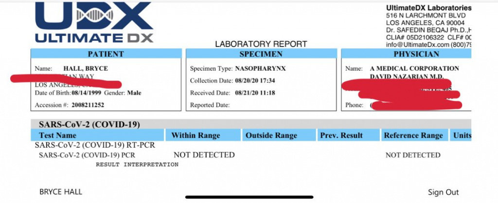 Test de coronavirus Bryce Hall Covid-19