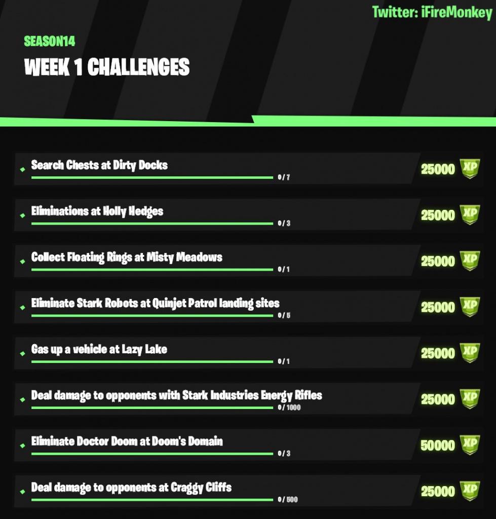 Défis de la semaine 1 du Battle Pass Fortnite Nexus War
