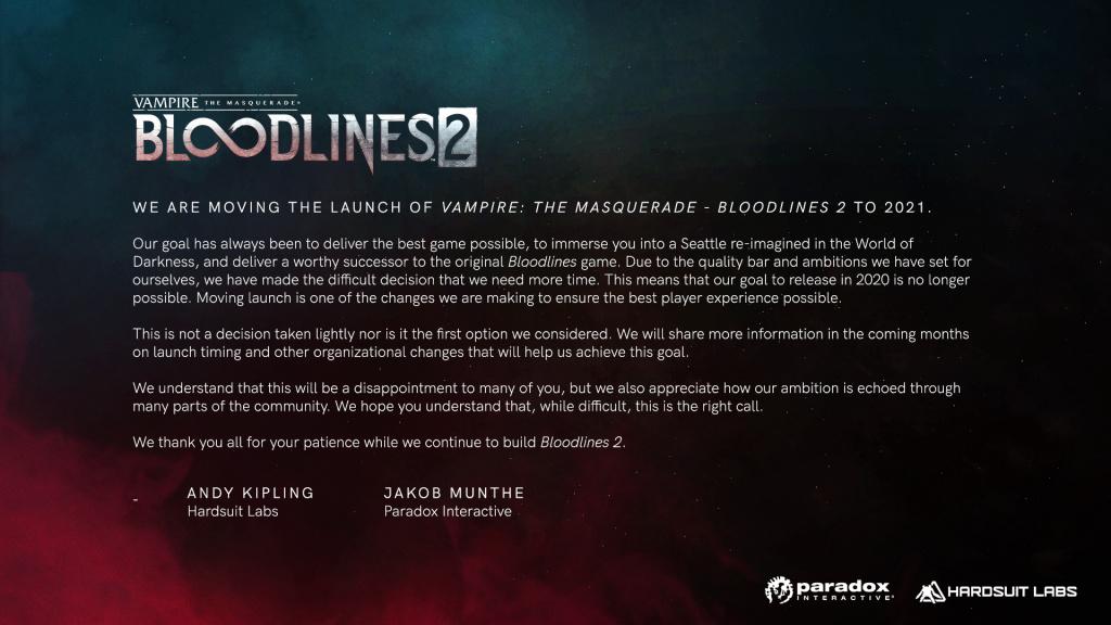 Vampire Bloodlines 2 retardé