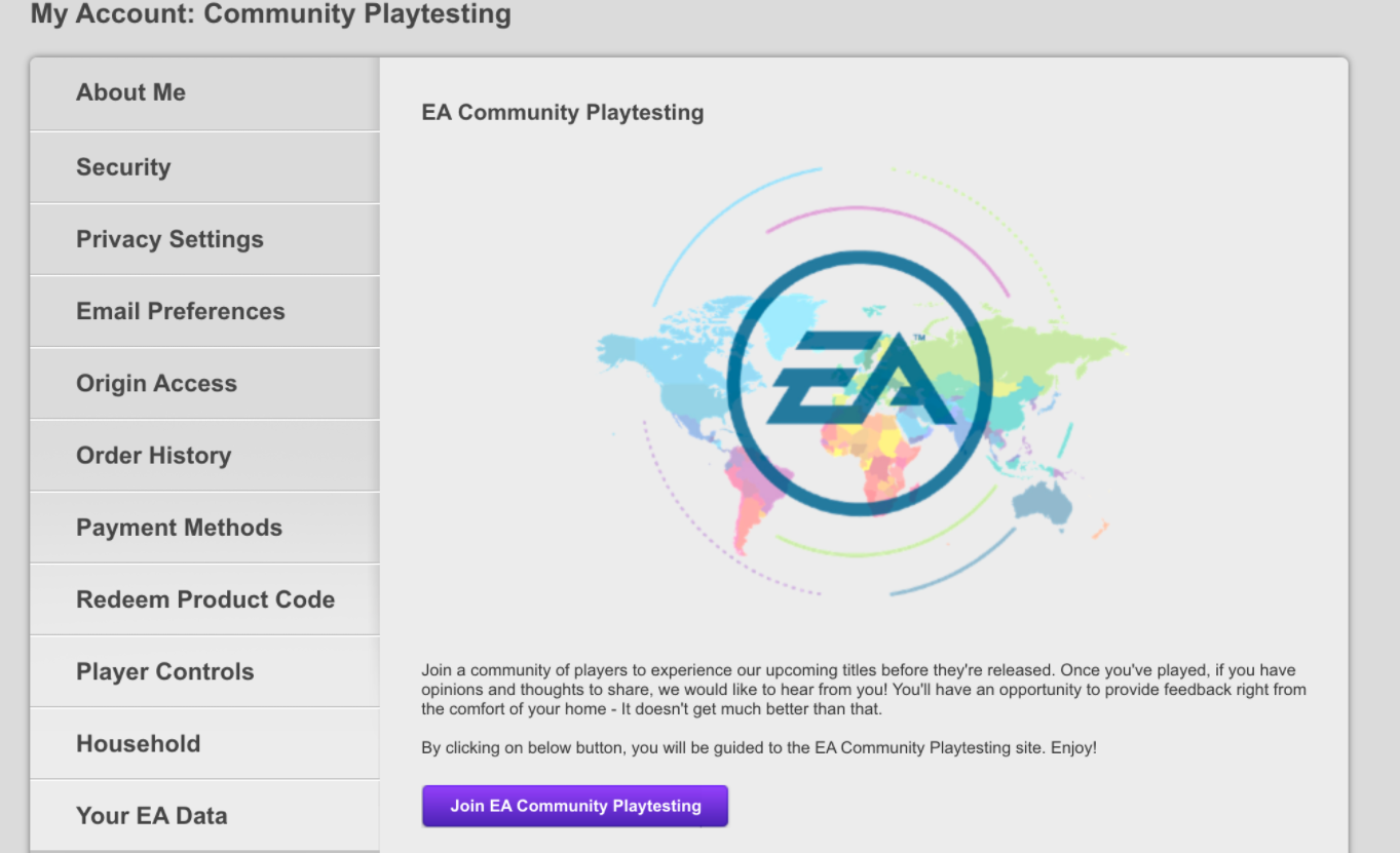Test de la communauté EA