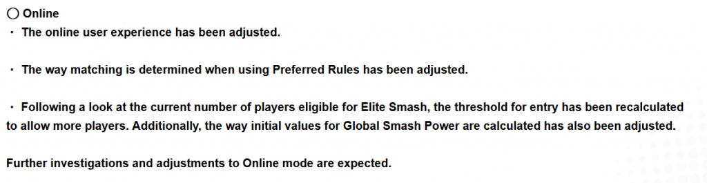 Smash Bros Ultimate Patch Notes Correction du décalage en ligne