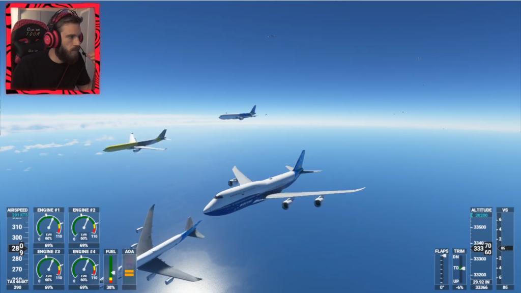 Flux de simulation de vol Pewdiepie