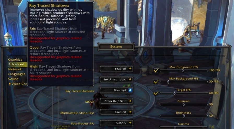 World of Warcraft Shadowlands Ray Tracing derniers pilotes NVIDIA