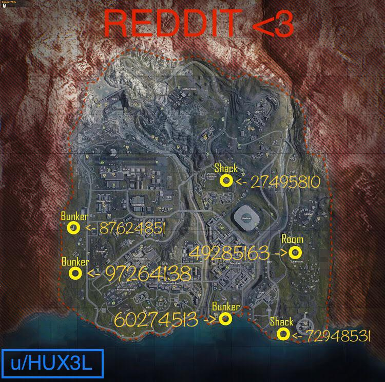 Codes-clés des emplacements du clavier Warzone