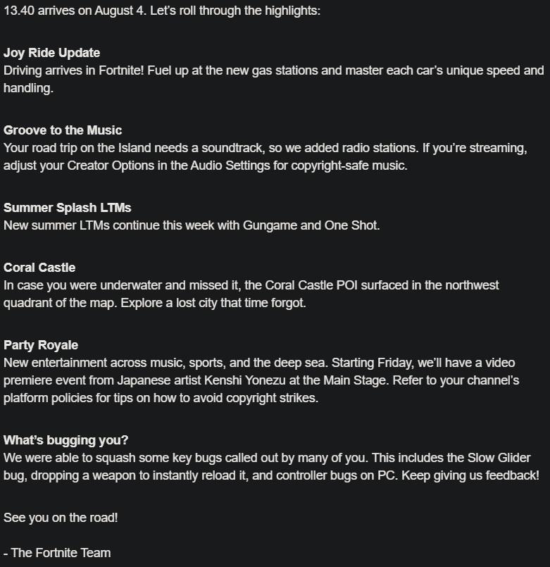 Les notes de mise à jour de Fortnite v13.40 corrigent les bogues des stations de radio des voitures
