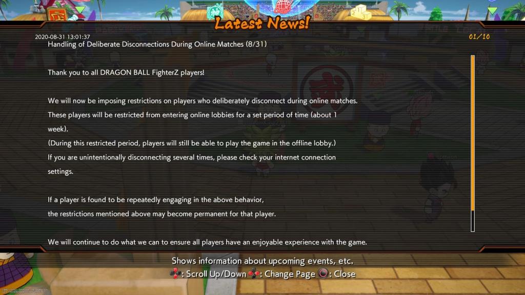 Dragon Ball FighterZ rage quit ban