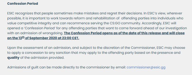 ESIC Confession period CS: GO spectator bug exploitent les entraîneurs