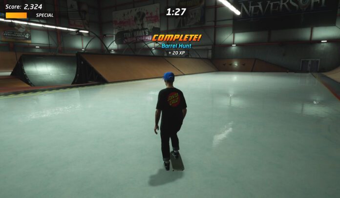 How to complete Barrel Hunt on The Hangar in Tony Hawk