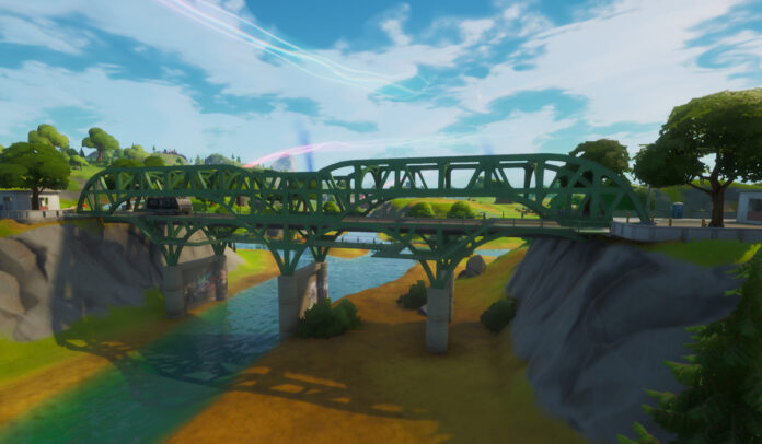 Ride a Motorboat Under Different Colored Steel Bridges in Fortnite
