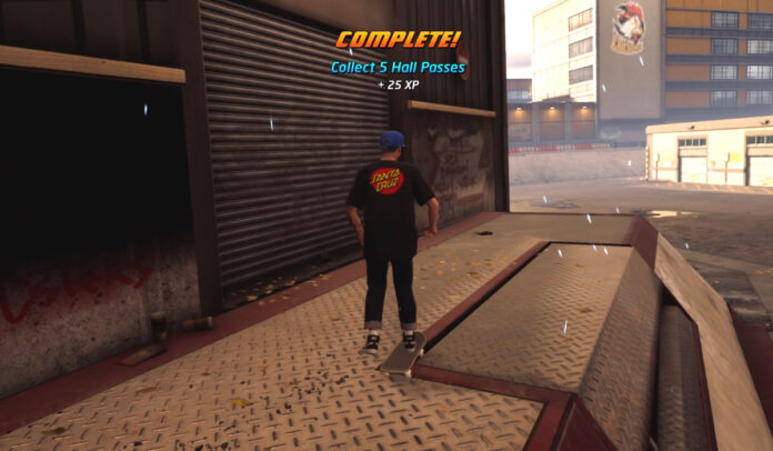 Collect 5 Hall Passes on School II in Tony Hawk
