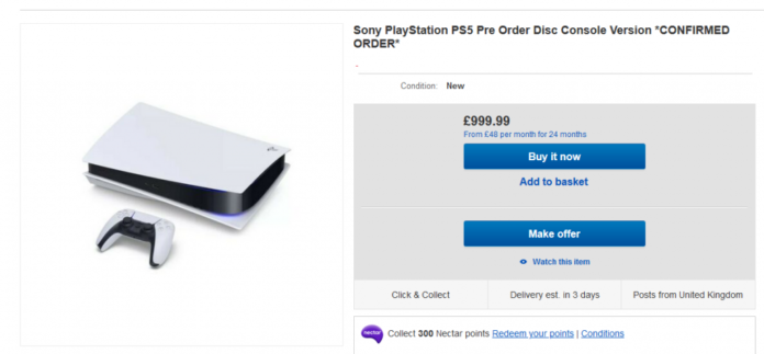 EBAY ps5 re-sell