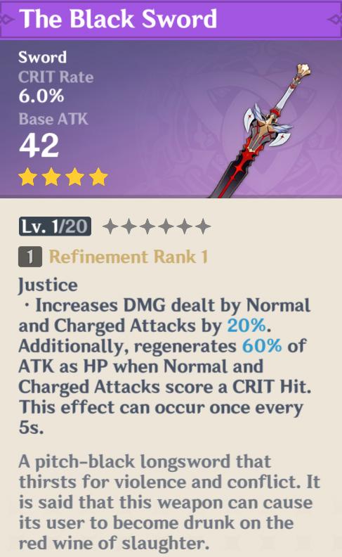 Récompenses Genshin Impact Battle Pass | Épée noire