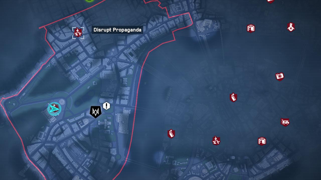 Tous les lieux de propagande d'Albion perturbent dans Watch Dogs: Legions Map