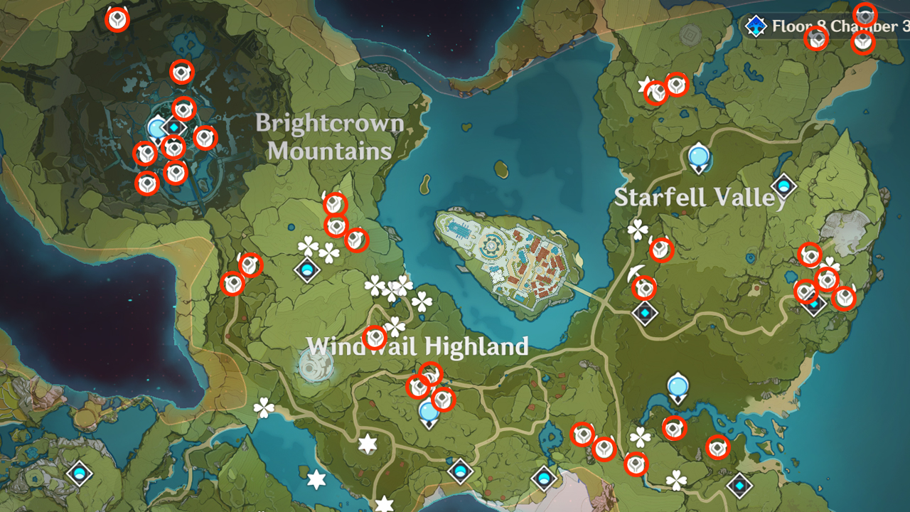 Hilichurl Spawn Locations Carte 1 - Mondstadt