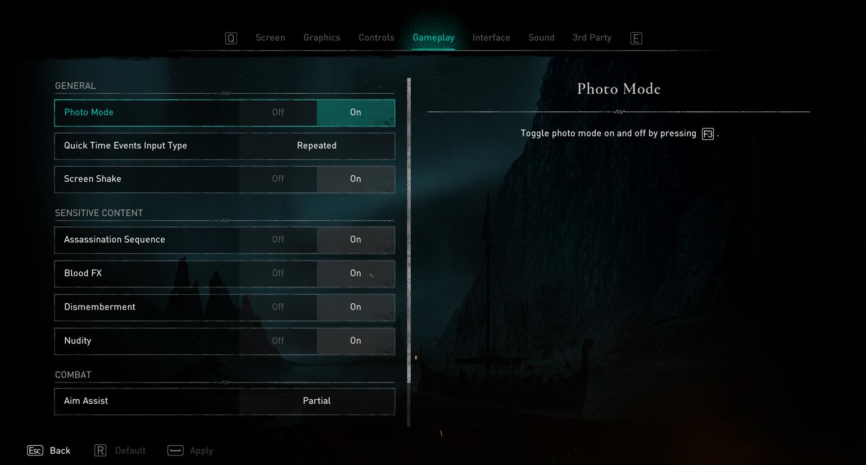 Comment utiliser le mode photo dans Assassin's Creed Valhalla - Activer à partir du menu
