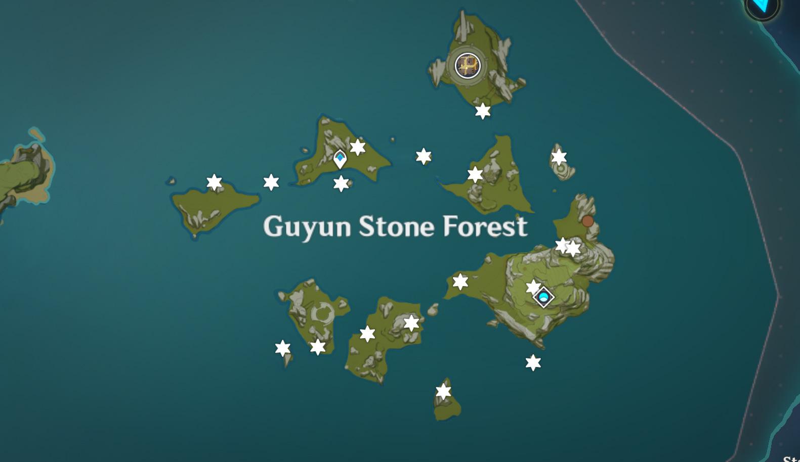 Emplacements des éclats de météorite - Lac Starfell - Forêt de pierres de Guyun