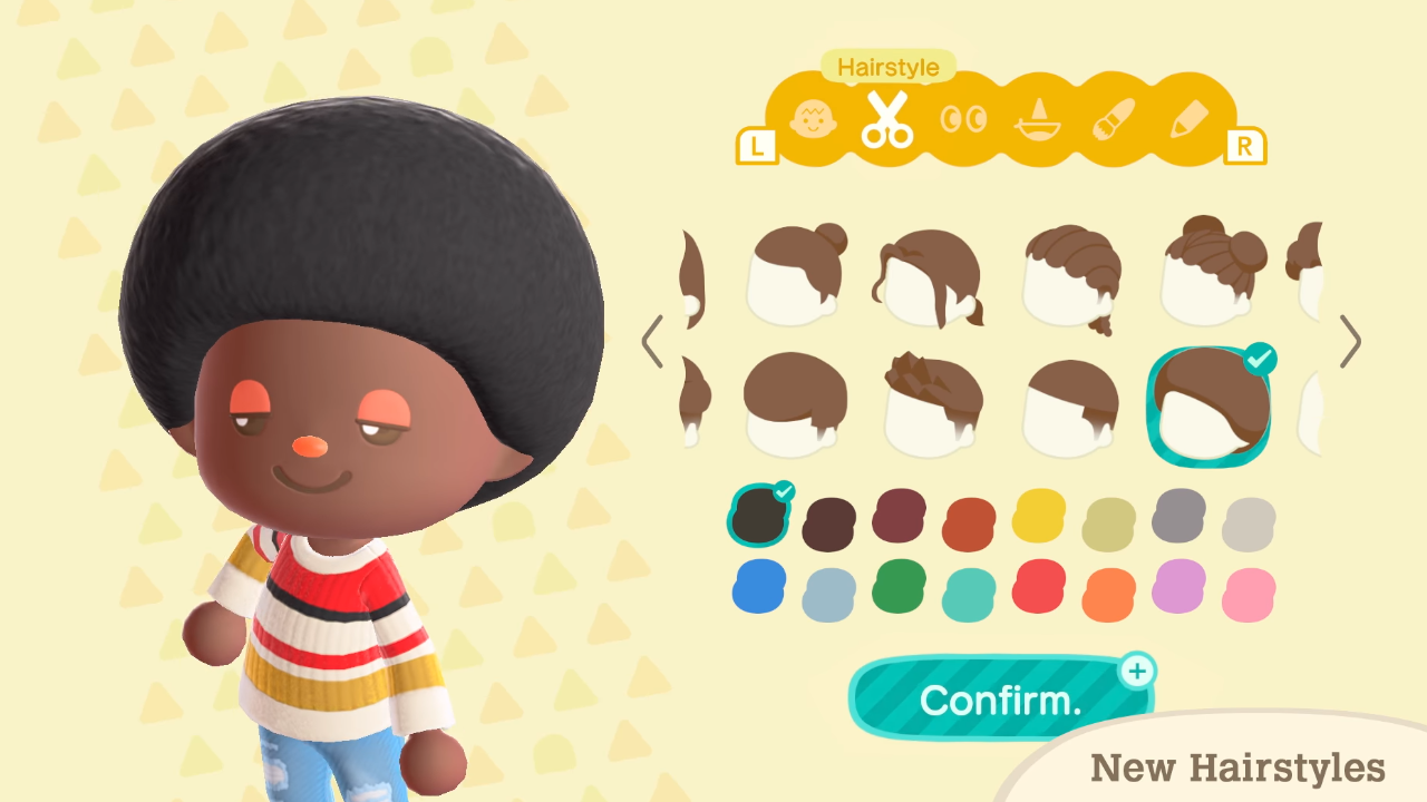 Mise à jour d'hiver d'Animal Crossing New Horizons - Coiffures