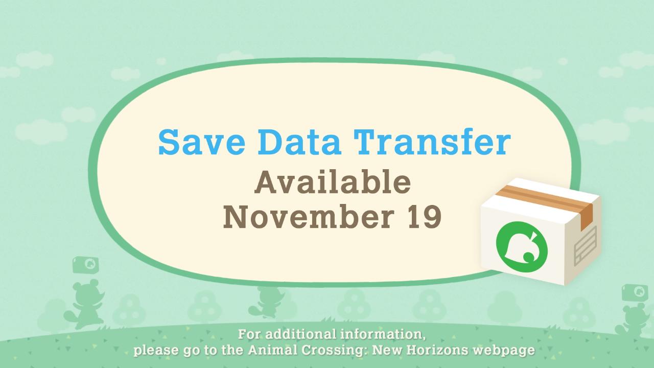 Mise à jour hivernale d'Animal Crossing New Horizons - Sauvegarde du transfert de données