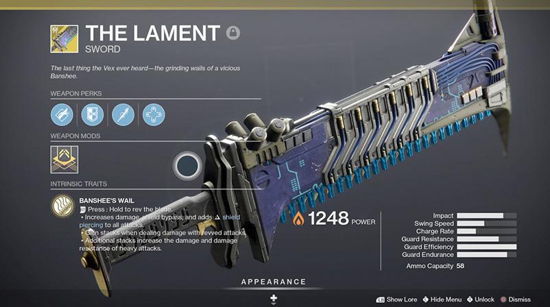 Comment obtenir l'épée exotique Lament dans Destiny 2 Beyond Light