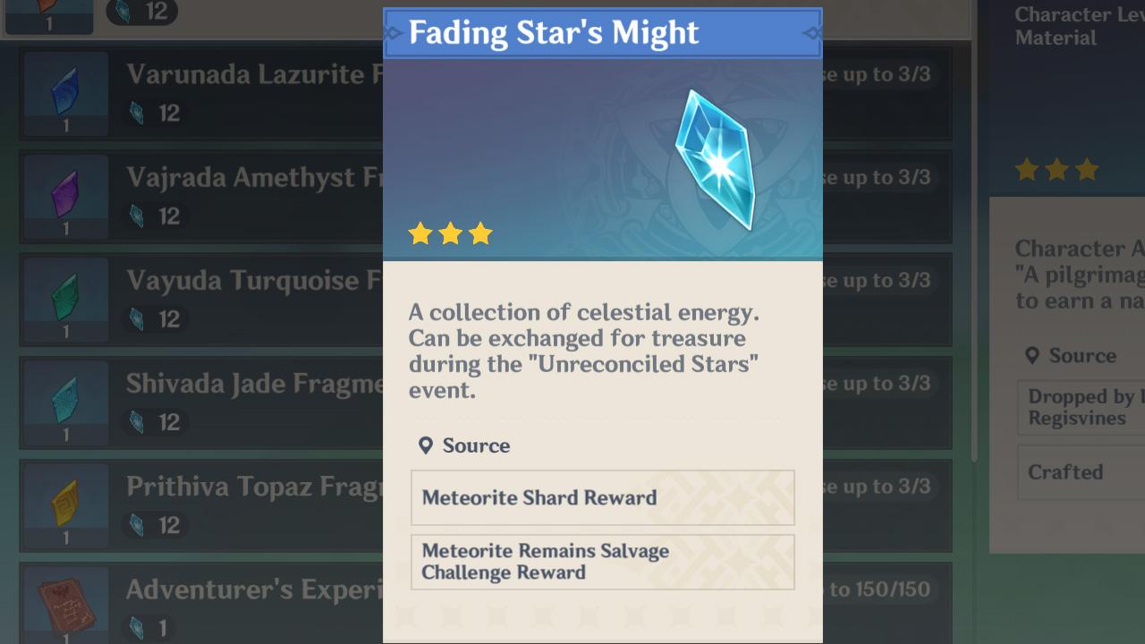 Comment obtenir la puissance de Fading Star dans Genshin Impact