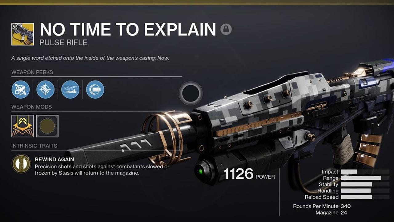Comment obtenir le fusil à impulsion No Time to Explain dans Destiny 2 Beyond Light