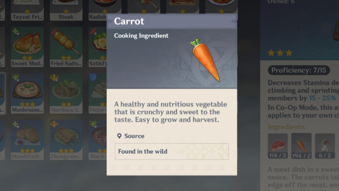 Where to find Carrots in Genshin Impact