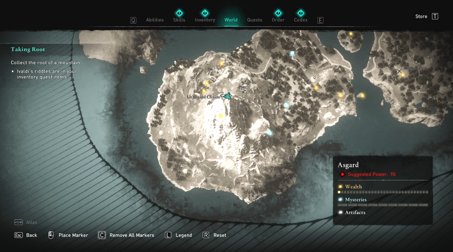 Comment récupérer la racine d'une montagne dans Assassin's Creed Valhalla - Carte