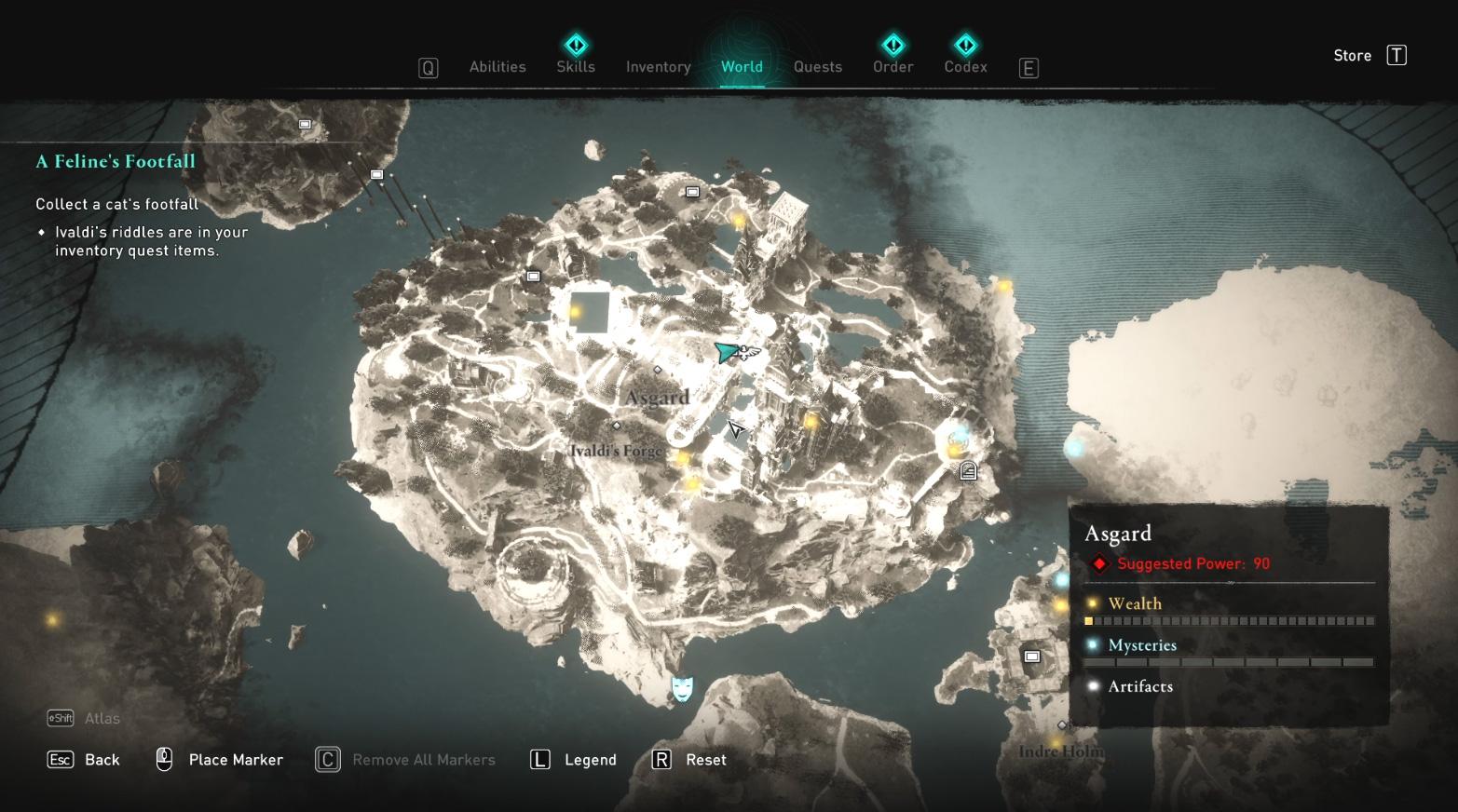Comment collecter les pas d'un chat dans Assassin's Creed Valhalla Map
